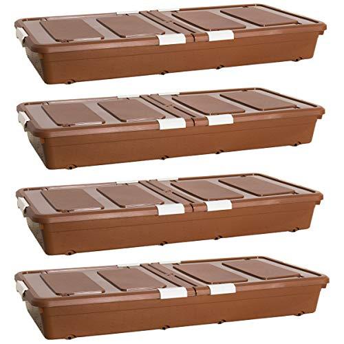 Iyan - Juego de 4 Cajas de Almacenamiento de plástico para Debajo de la Cama, contenedores con Tapas y Ruedas para Ropa,...