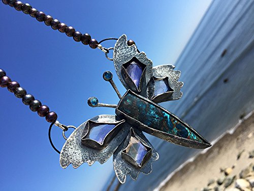 (Maiden Flight Butterfly Necklace. Artisan Sterling Silver. Amulet, Talisman, Totem, Moth, Organic, Raw, Tribal, Primitive, Boho, Bohemian.)