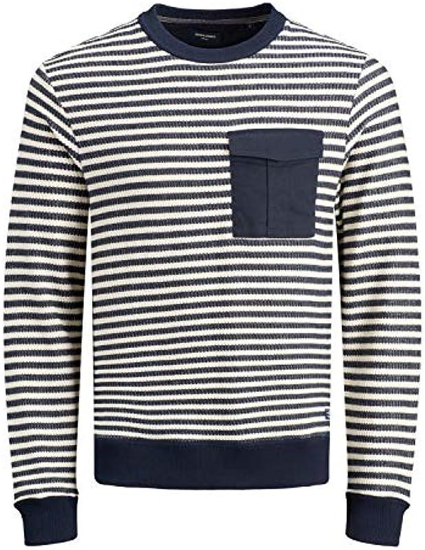 Jack & Jones Premium Pullover für Męskie, lange Ärmel, Strickpullover, JPRDenim, gestreift 12163955 Gr. XX-Large, weiß: Odzież