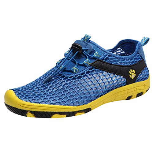 iHPH7 Shoes Water Quick-Dry Barefoot for Outdoor Beach Swim Surf Yoga Exercise New Mesh Shoes Leisure Sports Shoes are Breathable in Summer Shoe Men (41,Blue)