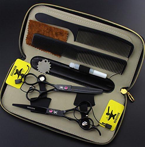 FOMALHAUT Left Handed Hairdressing Barber Salon Scissors, Black 6 inch scissors set  TBahR