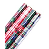 Hallmark Holiday Reversible Wrapping Paper (Plaid, 4 Pack)
