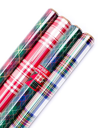 Hallmark Holiday Reversible Wrapping Paper (Plaid, 4 - Paper Christmas Wrapping