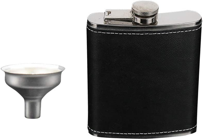 cubierta de piel negra acero inoxidable botella de bolsillo BESTONZON para whiskey Rum Scotch Vodka Petaca para licor y embudo
