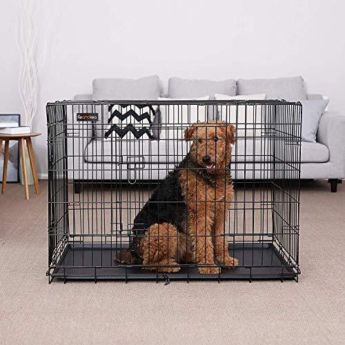FEANDREA Jaula metálica para Perros Transportín Plegable para Mascotas Negro XXL 106 x 70 x 77,5 cm PPD42H: Amazon.es: Productos para mascotas