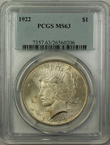 1922 Peace Silver Dollar Coin (ABR11-N) $1 MS-63 PCGS