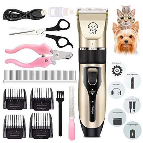 Dorakitten Grooming Clippers,12pcs Dog Grooming Clippers Kit low noise Pet Clippers Rechargeable Professional Electric Trimmer Set Pet Grooming Tool