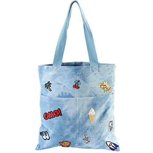 Basico Women's Emoji Parch Stickers Diaper Tote Bag Crossbody Bag (Tote Bag, Denim- OMG)