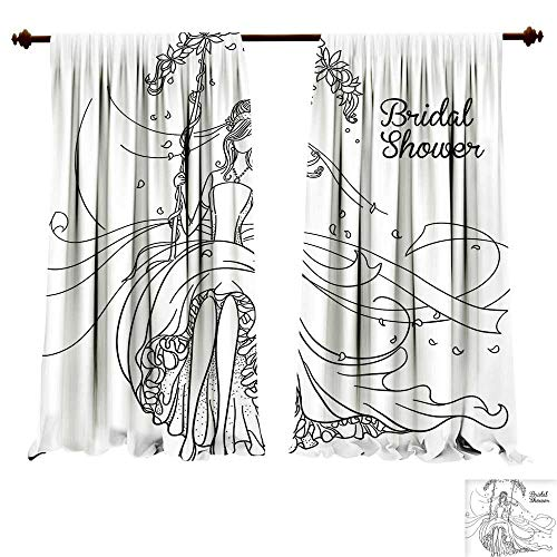 Room Darkening Thermal Insulated Bridal Shower ations Sketchy Hand Drawn Bride with Floral Swirls Swing Image Black and White Blackout Curtain for Living Room (W120 x L72 -Inch 2 Panels) (Connector Swirl)
