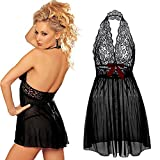 Coswe Moonight Plus Size Lace Top Babydoll Lingerie for Women (XL, Black)