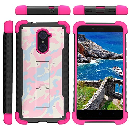 TurtleArmor | Compatible for ZTE Imperial Max Case | Max Duo | Grand X Max 2 [Grip Combat] Rugged Impact Dual Resistant Armor Kickstand Defender Case Pink Designs - Baby Blue Pink Camouflage