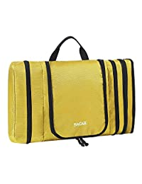 Bagail Men & Women Waterproof Flat Toiletry Kit, Portable and Spacious Travel Cosmetic Organizer Bag for Travel Accessories,Personal Items, Makeup and Shaving Yellow