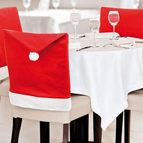 [I-Choice Santa Clause Red Hat Chair Back Covers for Christmas Dinner Decor 4 Pcs per Set] (Santa And Mrs Claus Costumes)