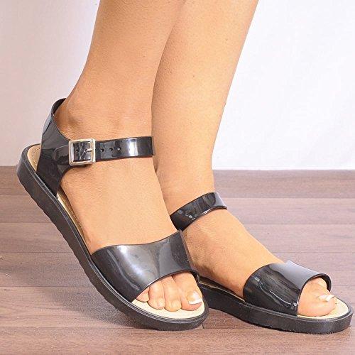 Scarpe Sandali Estive Piatto Punta Aperta Con Il Cinturino Nero In Gomma Caviglia Cinturino UK7/EURO40/AUS8/USA9