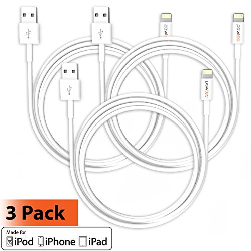 [Apple MFi Certified] Pawtec Premium Lightning to USB Charge Sync Cable 3.3ft / 1M Ultra Slim - Compatible with iPhone Xs/XS Max/XR/X / 8/7 / 6s / 6, iPad Pro/Air/Mini, iPod (3 Pack White)