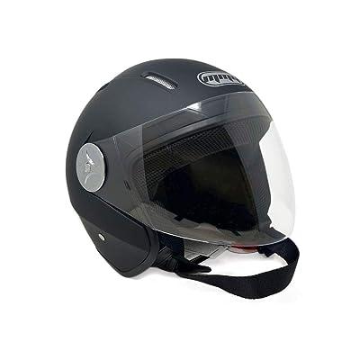 Motorcycle Scooter Open Face Helmet PILOT Flip Up Visor DOT (M, Matte Black): Automotive