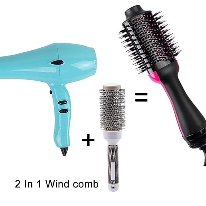 Cepillo de aire caliente de un paso para el pelo estilizador y secador y voluminizador, 2 en 1 alisador de pelo de iones negativos y rizador, peine de aire ...
