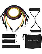 TOPELEK [Stretch Bands] Exercise Resistance Bands Set, Fitness Resistance Bands Set with 5 Fitness Tubes/Handles/Door Anchor/Ankle Straps/Carrying Pouch/Workout Guides, Best for Men, Women