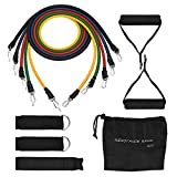 [Stretch Bands] Exercise Resistance Bands Set, TopElek Fitness Resistance Bands Set with 5 Fitness Tubes/Handles/Door Anchor/Ankle Straps/Carrying Pouch/Workout Guides, Best for Men and Women