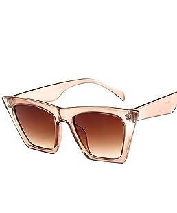 Skang Mode Damen Übergroße Sonnenbrille Vintage Cat Eye Super Coole Damenbrillen Sunglasses Pilot Brille Sportbrille Eyewear(Einheitsgröße,Beige)