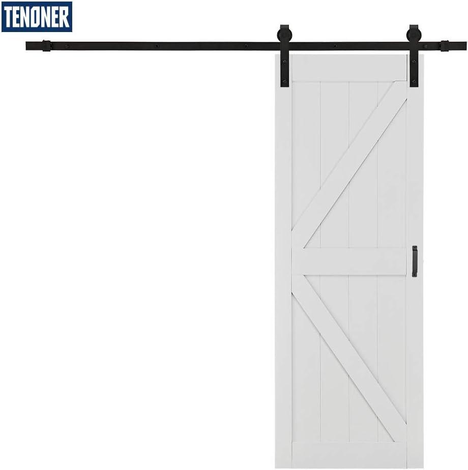 TENONER Sliding Barn Door K-Frame,DIY Sliding Barn Door 30 inches x 84 inches,White with Barn Door Hardware Kit