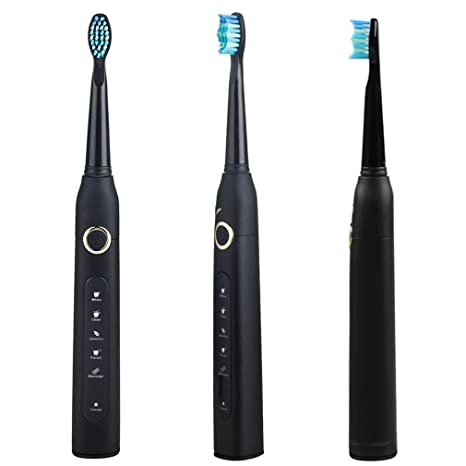 Amazon.com: TOOTHBRUSH New Sonic Electric Usb Charge Rechargeable Tooth Brushes Value Spree Mysterious 5pc brush head-Black: Home & Kitchen