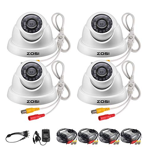 Hybrid Analog (ZOSI 4 Pack 720p Dome Security Cameras (Hybrid 4-in-1 HD-CVI/TVI/AHD/960H Analog CVBS),1280TVL Day Night Weatherproof Indoor/Outdoor Dome Camera HD,Night Vision Up to 65FT(20M))