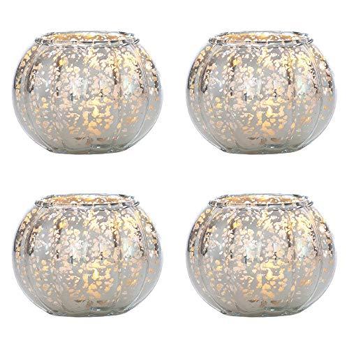 Luna Bazaar Silver Autumn Small Mercury Glass Vase (Set of 4) -