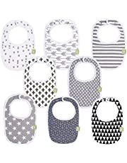 Organic Baby Bibs For Boys & Girls - Organic Cotton Teething Bib - Newborn Bibs for Baby Girl, Boy - Infant Bibs - Machine Washable Newborn Cloth Bib - 0-24 Months Baby Drool Bibs (Grayscale)