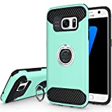 Galaxy S7 edge Case, S7 edge Case, Jwest [Ring Holder Series] Slim Hybrid Heavy Duty Hard PC + TPU Carbon Fiber Anti-scratch Shockproof Protective Case with Kickstand for Galaxy S 7 edge, Mint