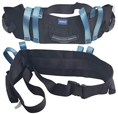 Original Physical Therapy Transfer & Walking Gait Belt with 7 Hand Grips & Easy Release Buckles in Mental and Plastic. (Plastic Loop Plastic Buckle)
