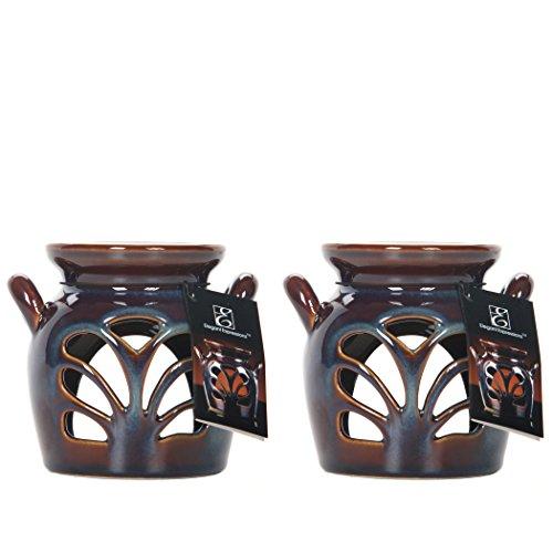 Hosley Set of 2 Ceramic Oil Warmers - 4.25