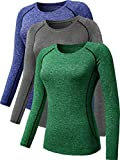 Neleus Women's 3 Pack Compression Athletic Long Sleeve Shirts for Girls,8021,Green,Grey,Blue,S