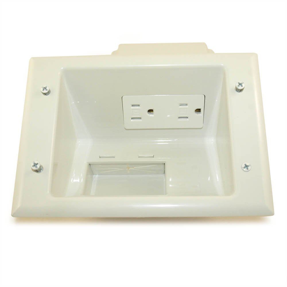 MyCableMart Wall Plate: Cable Pass-Thru Media Plate with Dual 110v Recessed, White