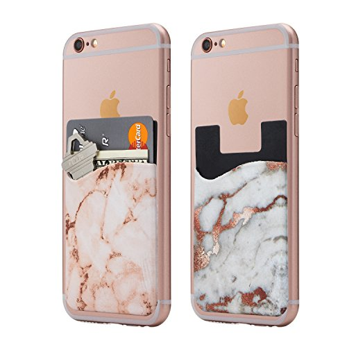 (Two) Marble Cell Phone Stick on Wallet Card Holder Phone Pocket for iPhone, Android and All Smartphones. (WhitePink)