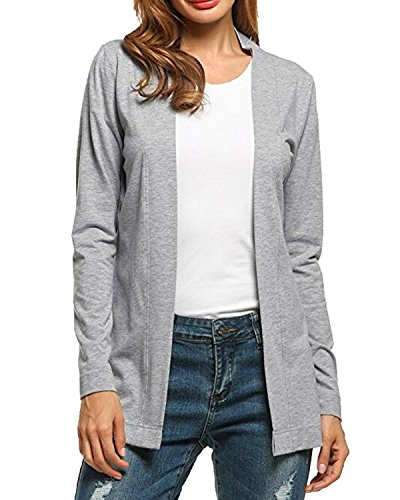 Auxo Women's Long Sleeve Cardigan Open Front Flyaway Lightweight Sweater Outwear Jacket
