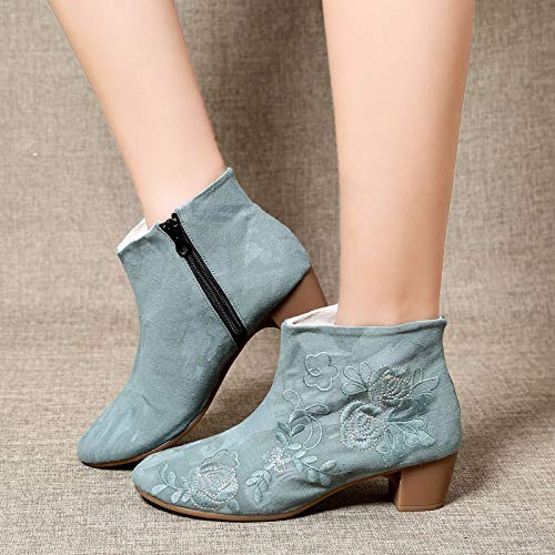 Fleur Femmes Eu Zhrui Boots couleur Vert Block Chaussures 37 Vert Dimensione Toile Zipper xgqI1q