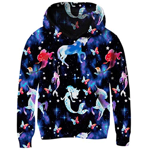 BFUSTYLE Infant Toddler Girls Unicorn Mermaid Galaxy Star Print Pullover Hoodies with Pocket Funny Hooded Sweatshirt for Kid 4-14 Years Old