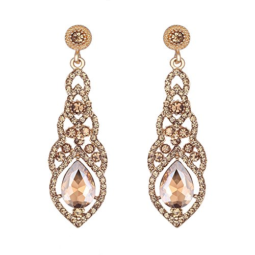 mecresh Champagne Crystal Unique Design Flower Teardrop Dangle Earrings for Bridemaid or Wedding