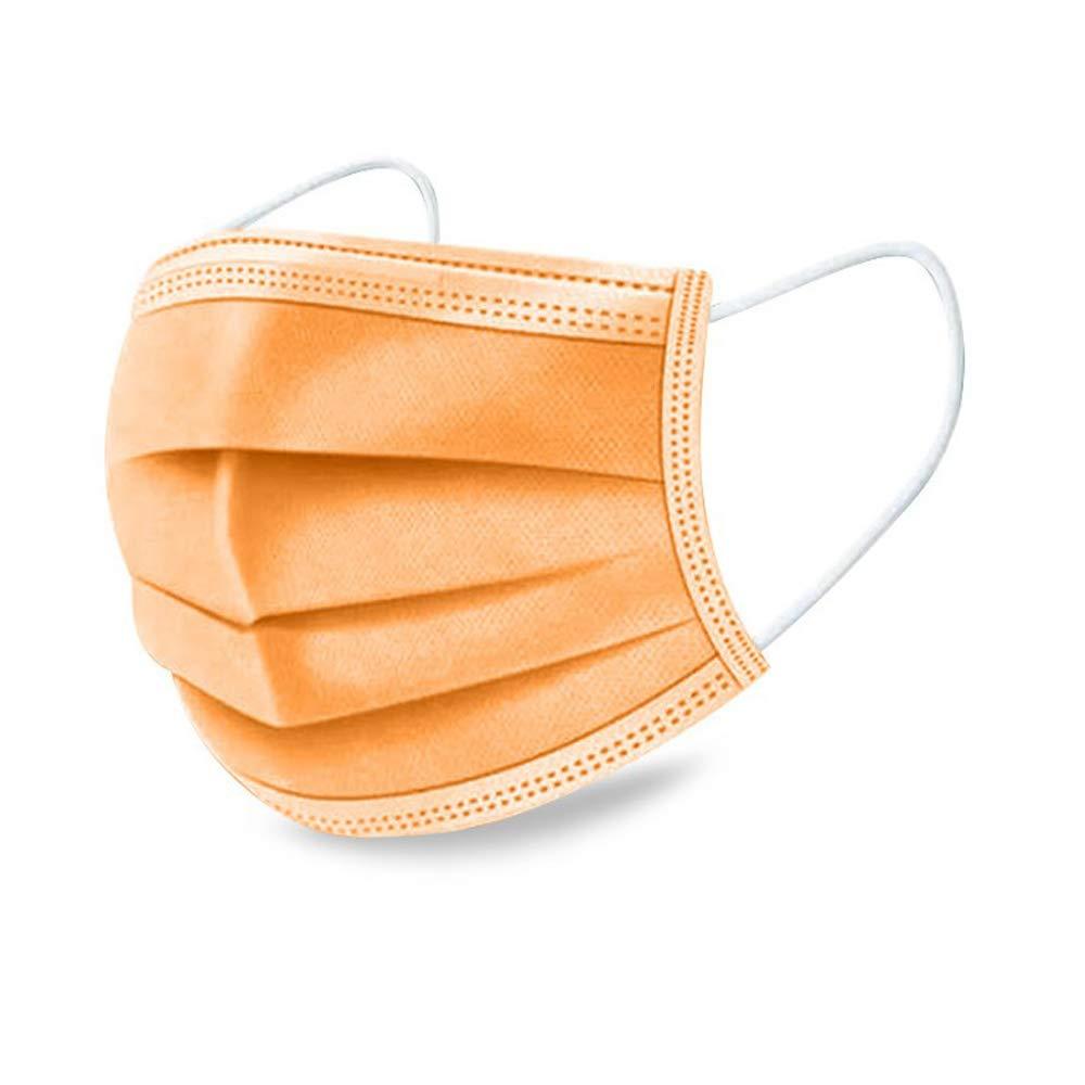 50 piezas de productos de protección,Ronege tres capas de herramientas de protección desechables altamente transpirables adecuadas para cubrirse perfectamente la nariz, la boca y la cara (Naranja)