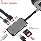 SONGHUA MacBook USB,USB C to USB,4K HDMI Output, USB C Adapter 3.1 with 100W Type C Charging Port,Card Reader,2 USB3.0 Ports for Macbook,Samsung S8/S8+ DEX, (Space gray)