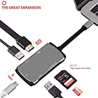 USB C Hub,USB C to USB,4K HDMI Output, USB C Adapter 3.1 with Type C Charging Port,Card Reader,2USB3.0 Ports for Macbook,Samsung S8/S8+ HDMI output and Charging,Support S8/S8+ dex (Space gray)
