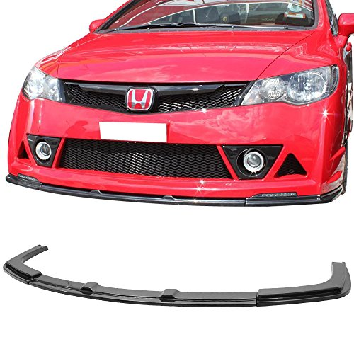 Abs Bumper Front 4dr - Front Bumper Lip Fits 2006-2011 Honda Civic | Black ABS Front Lip Finisher Under Chin Spoiler Add On by IKON MOTORSPORTS | 2007 2008 2009 2010