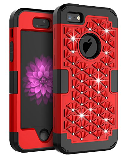 AdiWon Apple iPhone 5 Case iPhone 5S Case iPhone SE Case Glitter Crystal Diamond Bling Rhinestone Three Layer Hybrid Shock Resistant Cover for Girls/Women,Red Black