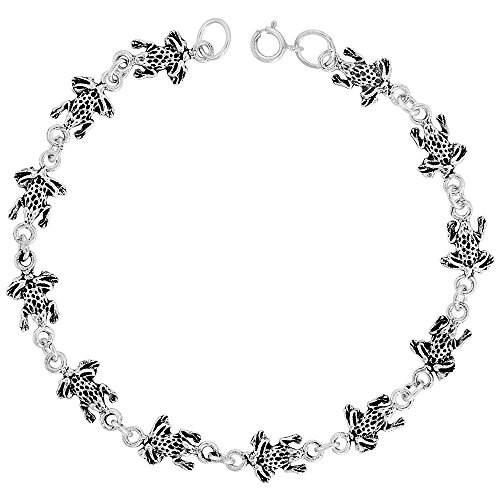 Dainty Sterling Silver Frog Bracelet for Women and Girls, 1/4 wide 7.5 inch long