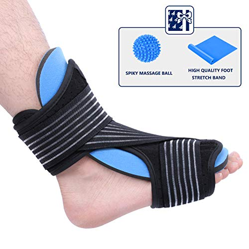 Plantar Fasciitis Brace Night Splint - Adjustable Breathable Comfortable Foot Drop Orthotic Brace for Sleep Support and Effective Relief from Plantar Fasciitis Pain, Heel, Arch Foot ()