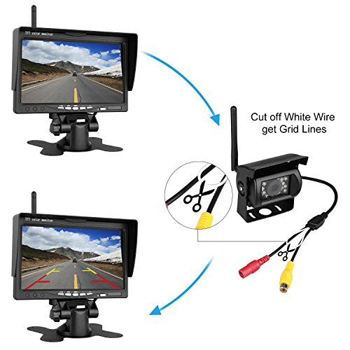 Wireless-Backup-Camera-And-7-HD-LCD-Monitor-Kit-For-RVSUVVanPickupTruckTrailer-RearSideFront-View-System-Switchable-Built-in-Reverse-Camera-Grid-Lines-ONOff-with-IP69K-Waterproof-Night-Vision
