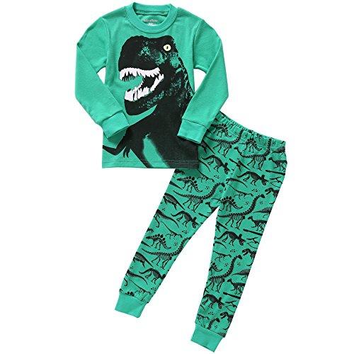 Boys Pajama Dinosaur Kids Sleepwear Toddler Clothes 100% Cotton Long Sleeve 2-Piece Set 3T ()