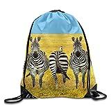 Unisex Drawstring Bags Cute Africa Stripes Zebra Portable Backpack Travel Sport Gym Bag Yoga Runner Daypack Shoe Bags
