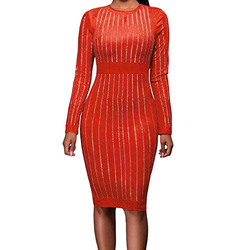 Eiffel Women's Stripe Sparkling Rhinestone Office Work Slim Pencil Dress Bodycon Orange